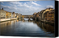 Florence Canvas Prints - Ponte Vecchio Canvas Print by David Bowman