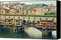 Arch Bridge Canvas Prints - Ponte Vecchio On Rainy Day Canvas Print by Irene Lamprakou