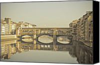 Tuscany Canvas Prints - Ponte Vecchio Over Arno River, Florence, Italy Canvas Print by Gil Guelfucci