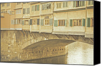 Tuscany Canvas Prints - Ponte Vecchio Over Arno River Canvas Print by Gil Guelfucci