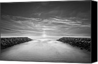 Jetty Canvas Prints - Ponto Jetties Canvas Print by Larry Marshall