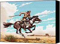 Western Digital Art Canvas Prints - Pony Express Rider historical americana painting desert scene Canvas Print by Walt Curlee