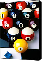 Yellow Canvas Prints - Pool balls on tiles Canvas Print by Garry Gay