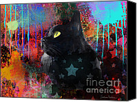 Impressionistic Art Canvas Prints - Pop Art Black Cat painting print Canvas Print by Svetlana Novikova