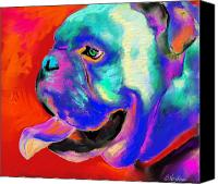 Funny Drawings Canvas Prints - Pop Art English Bulldog painting prints Canvas Print by Svetlana Novikova
