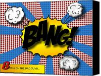 Modern Digital Art Canvas Prints - Pop BANG Canvas Print by Suzanne Barber