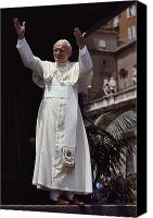 Gesturing Canvas Prints - Pope John Paul Ii Blesses An Audience Canvas Print by James L. Stanfield