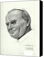 Pope Drawings Canvas Prints - Pope John Paul II Canvas Print by N Xarsai