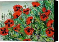 Droopy Canvas Prints - Poppies Galore Canvas Print by Val Stokes