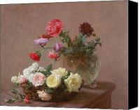 Poppy Petals Canvas Prints - Poppies in a Crystal Vase - or Basket of Roses Canvas Print by Ignace Henri Jean Fantin-Latour