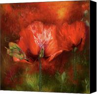 The Art Of Carol Cavalaris Mixed Media Canvas Prints - Poppies Of Summer Canvas Print by Carol Cavalaris