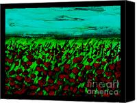 Poppy Digital Art Canvas Prints - Poppy Field in the Evening Canvas Print by Marsha Heiken