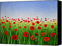 Alpine Canvas Prints - Poppy Field Canvas Print by Irina Sztukowski
