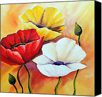 Poppy Drawings Canvas Prints - Poppy flowers Canvas Print by Agata Jenko