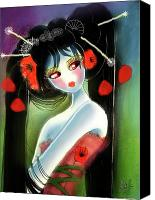 Poppy Drawings Canvas Prints - Poppy Geisha Canvas Print by Miss Lili