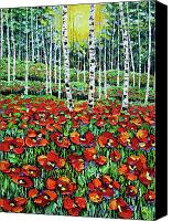 Beata Canvas Prints - Poppy Meadow oil Painting Canvas Print by Beata Sasik