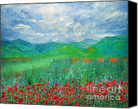 Impressionism Art Mixed Media Canvas Prints - Poppy Meadows Canvas Print by Zeana Romanovna