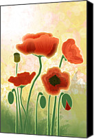 Poppy Digital Art Canvas Prints - Poppy Mountain Meadow Canvas Print by Melisa Meyers