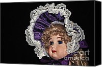 Blue And White Porcelain Canvas Prints - Porcelain Doll - Head and Bonnet Canvas Print by Kaye Menner