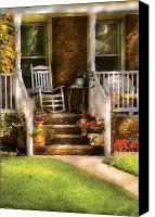 Porch Canvas Prints - Porch - Garwood NJ - Granpas Chair Canvas Print by Mike Savad