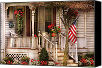 Flags Canvas Prints - Porch - Americana Canvas Print by Mike Savad