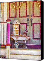 Railing Canvas Prints - Porch - Cranford NJ - The birdhouse collector Canvas Print by Mike Savad