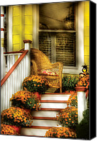 Old Houses Canvas Prints - Porch - Westifeld NJ - In the light of Autumn Canvas Print by Mike Savad