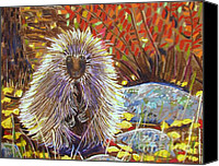 Mountains Pastels Canvas Prints - Porcupine on the Trail Canvas Print by Harriet Peck Taylor