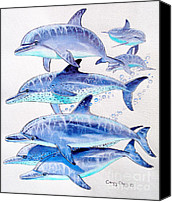 Whale Painting Canvas Prints - Porpoise play Canvas Print by Carey Chen