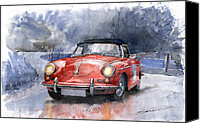 Auto Canvas Prints - Porsche 356 B Roadster Canvas Print by Yuriy  Shevchuk