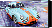 Racing Car Canvas Prints - Porsche 356 Gulf Canvas Print by Yuriy  Shevchuk