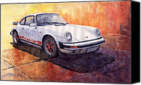 Classic Cars Canvas Prints - Porsche 911 Carrera Canvas Print by Yuriy  Shevchuk