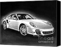 European Drawings Canvas Prints - Porsche 911 Turbo    Canvas Print by Peter Piatt