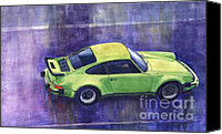 Classic Cars Canvas Prints - Porsche 911 turbo Canvas Print by Yuriy  Shevchuk