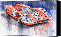 Racing Car Canvas Prints - Porsche 917K Winning Le Mans 1970 Canvas Print by Yuriy  Shevchuk