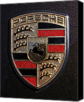 Red Canvas Prints - Porsche Emblem Canvas Print by Jill Reger
