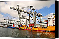 Industrial Ship Canvas Prints - Port-industrial 3 - Container handling Canvas Print by Dean Harte