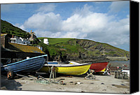 Isaac Canvas Prints - Port Isaac Boats Canvas Print by Kurt Van Wagner
