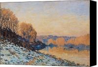 Slopes Painting Canvas Prints - Port Marly White Frost Canvas Print by Alfred Sisley