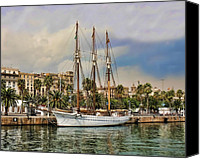 Yachts Digital Art Canvas Prints - Port Vell  Near Barcelona Harbour Canvas Print by Alex Hardie