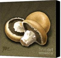 Mushroom Drawings Canvas Prints - Portabello Mushrooms Canvas Print by Marshall Robinson