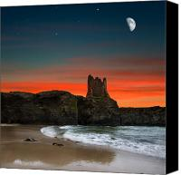 Red Pyrography Canvas Prints - Portbury Castle Canvas Print by Ian David Soar
