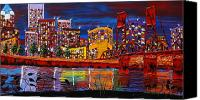 City Of Bridges Painting Canvas Prints - Portland CIty Lights 10 Canvas Print by James Dunbar