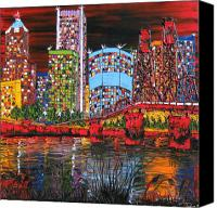 City Of Bridges Painting Canvas Prints - Portland City Lights 12 Canvas Print by James Dunbar