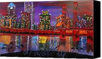 City Of Bridges Painting Canvas Prints - Portland City Lights 14 Canvas Print by James Dunbar