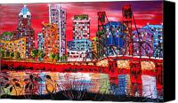 City Of Bridges Painting Canvas Prints - Portland City Lights 7 Canvas Print by James Dunbar