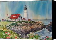 Rocks Painting Canvas Prints - Portland Head Light Canvas Print by Dianna  Willman
