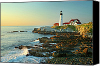 Cliff Canvas Prints - Portland Head Light No. 2  Canvas Print by Jon Holiday
