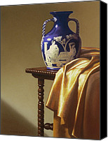 Antique Pastels Canvas Prints - Portland Vase with Cloth Canvas Print by Barbara Groff