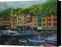 Italian Mediterranean Art Canvas Prints - Portofino Harbor Canvas Print by Charlotte Blanchard